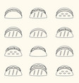 set of outline tortilla tacos food icons set eps10 vector image vector image