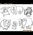 set wild animal characters coloring book vector image vector image