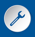 spanner - simple blue icon on white button vector image vector image