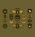special force army insignia label set isolated on vector image