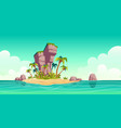 tropical island in ocean with palm trees and rock vector image