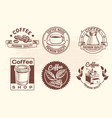 Vintage hand drawn hot drinks coffee logos with vector image