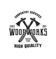vintage hand drawn woodworks logo and emblem vector image vector image