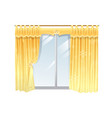 windows with yellow curtain on a vector image