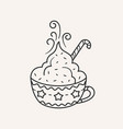 winter cup hot chocolate vector image vector image