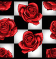 wonderland red roses on chessboard background vector image vector image