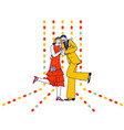 young couple dancing charleston on retro party vector image