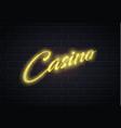 neon casino poker card sign brick wall vector image