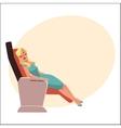 Beautiful blond woman sleeping in airplane vector image