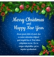 Christmas background with fir twigs and balls vector image