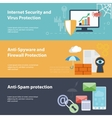 Flat banner set with hacking virus protection vector image