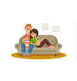 happy family watching television person vector image
