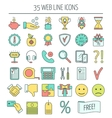 35 linear web icons Color moder line icons for vector image vector image