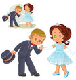 a little boy and girl vector image