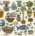 asian garden with plants in ceramic pots seamless vector image