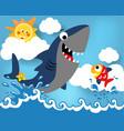 big shark and little fish cartoon vector image