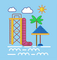 big water slide sun umbrella and tall palm on vector image vector image