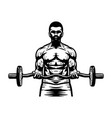 bodybuilder man character with barbell vector image