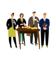 business breakfast at work vector image