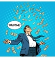 business concept success businessman flying money vector image