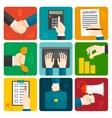 Business Hands Flat Set vector image