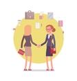 Businesswomen greeting handshaking vector image