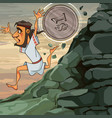 cartoon man sisyphus runs down the mountain he is vector image