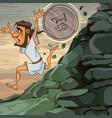 cartoon man sisyphus runs down the mountain he is vector image vector image
