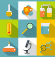 chemical laboratory icon set flat style vector image vector image