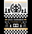 chessboard with chess pices board game tournament vector image vector image