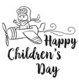 childrens day with plane collection vector image vector image