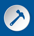 claw hammer - simple blue icon on white button vector image vector image