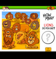 counting lions animals educational game vector image vector image