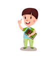 cute happy boy with brown hair standing and vector image vector image