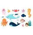 cute sea animals cartoon fish swim underwater vector image