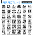 dental care black mini concept icons and vector image