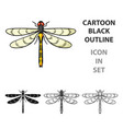 dragonfly icon in cartoon style isolated on white vector image
