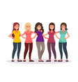 female friendship group of women are hugging vector image vector image