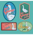 Goose pate vintage labels set vector image vector image