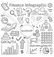 hand drawn finance infographics with doodle vector image vector image