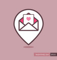 happy valentine day card in envelope pin map icon vector image vector image