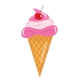 Ice Cream cone with cherries icon flat cartoon vector image vector image