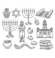 judaism religion symbols jewish objects vector image