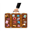 leather retro bag with stickers in hand vector image vector image