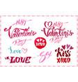 lettering set for valentines day design vector image vector image