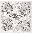 line art set of holidays doodle designs vector image vector image
