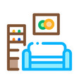 living room with picture icon outline vector image vector image