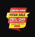 mega sale offer limited time banner vector image vector image