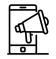 megaphone and smartphone icon outline style vector image vector image