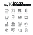 modern thin line icons set city elements vector image